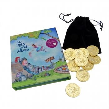Tooth Fairy Gold Coin Gift Set in blue