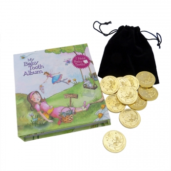Tooth Fairy Gold Coin Gift Set in pink
